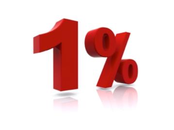 A képen egy térben elhelyezett 1% felirat látható