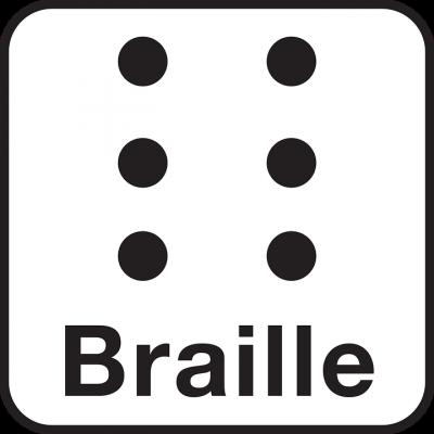 A képen Braille felirat látható, felette pedig 6 pont