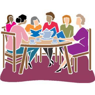 A rajzolt képen emberek beszélnek egy asztal körül