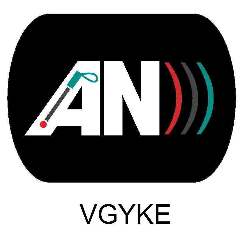 """a képen az audionarráció piktogramjának képe látható, amely a fekete alapon fehér """"AN"""" rövidítés, mellette három félkörívű vonallal (3 db jobb oldali zárójel egymás mellett), mely a hanghullámok terjedését szimbolizálja"""