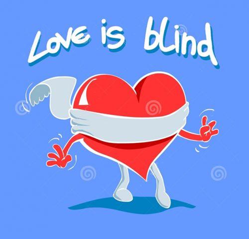 A képen egy szív látható, felette egy kiírás, hogy a szerelem vak