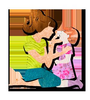 A képen egy rajz látható, amint egy felnőtt nő egy kisgyerekkel beszélget