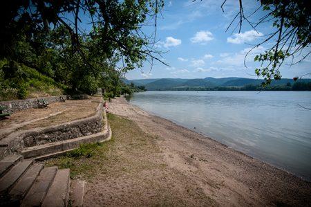 A képen a zebegényi Duna partjának egy része látható, melyre a homokos és kavicsos partszakasz jellemző, árnyékot adó, hatalmas fákkal