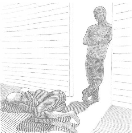 A képen a kiadvány borítója látható, melyen egy férfi áll egy ajtóban, előtte egy bántalmazott nő fekszik a padlón