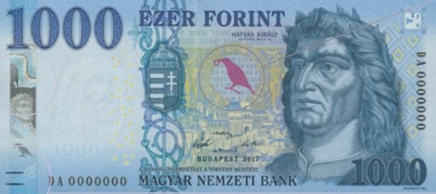 A képen az új ezerforintos bankjegy látható