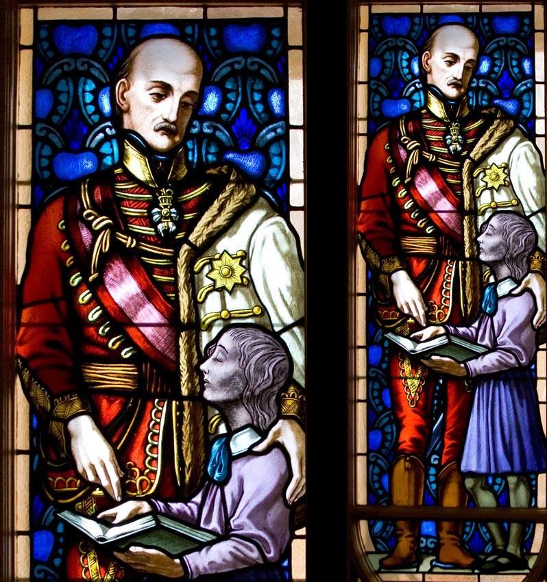 A képen Habsburg József nádor látható, a Vakok Iskolájának üvegablakán