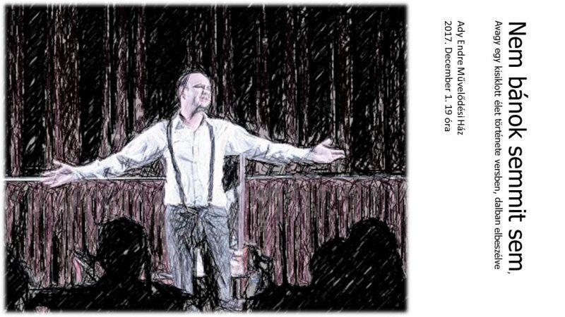 A képen az előadás plakátja látható, amit az énekes énekel