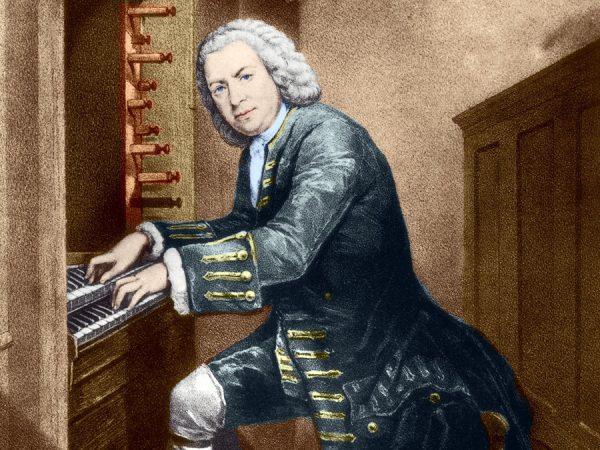 A képen Bach látható egy festményen, amint orgonán játszik