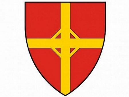 A képen a városrész címere látható. Vörös pajzs, benne sárga vonalak jelzik az Andrássy utat és a Nagykörutat, metszéspontjukban az Oktogon rajzolódik ki