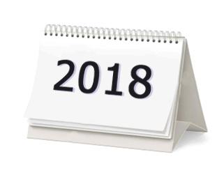 A képen egy naptár látható, rajta a 2018-as évszám