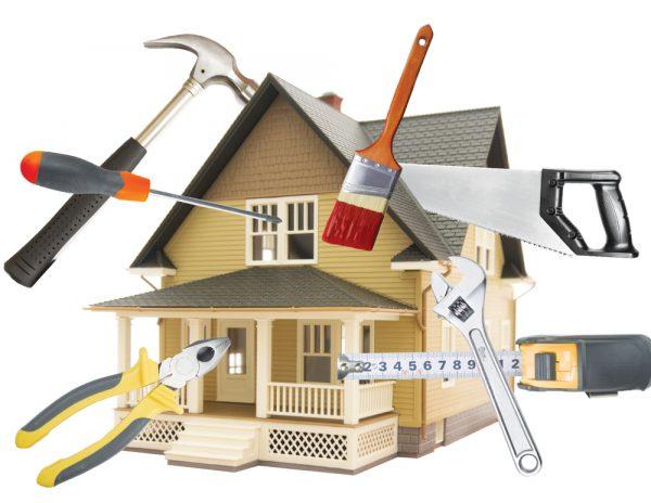 A képen egy rajzolt ház látható, mellette egy sor felújításhoz használt eszköz