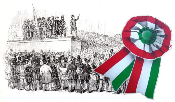 A képen egy rajzolt jelenet látható, melyen Petőfi Sándor elszavalja a Nemzeti Dalt a Nemzeti Múzeum előtt, a kép balján pedig egy kokárda van az előtérben