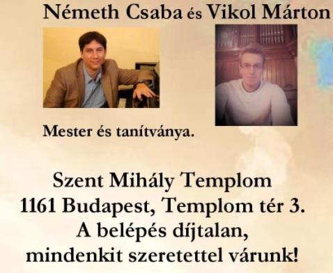A képen a két művész fényképe látható, alatta pedig a program helye van kiírva