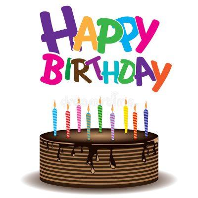 A képen egy szülinapi torta látható, a torta felett pedig angolul ki van írva a boldog szülinapot köszöntés