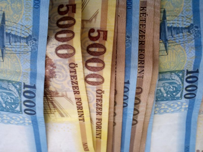 A képen 22 ezer forint látható bankjegyekben