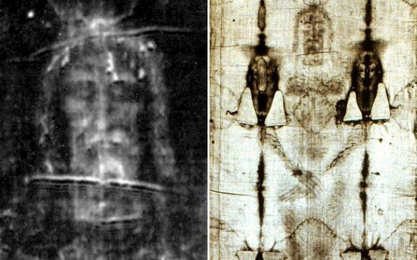 A képen a torinoi lepel képe látható
