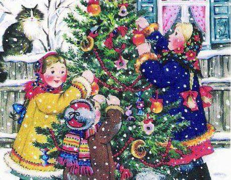 A rajzolt képen kisgyerekek díszítenek fel egy fenyőfát