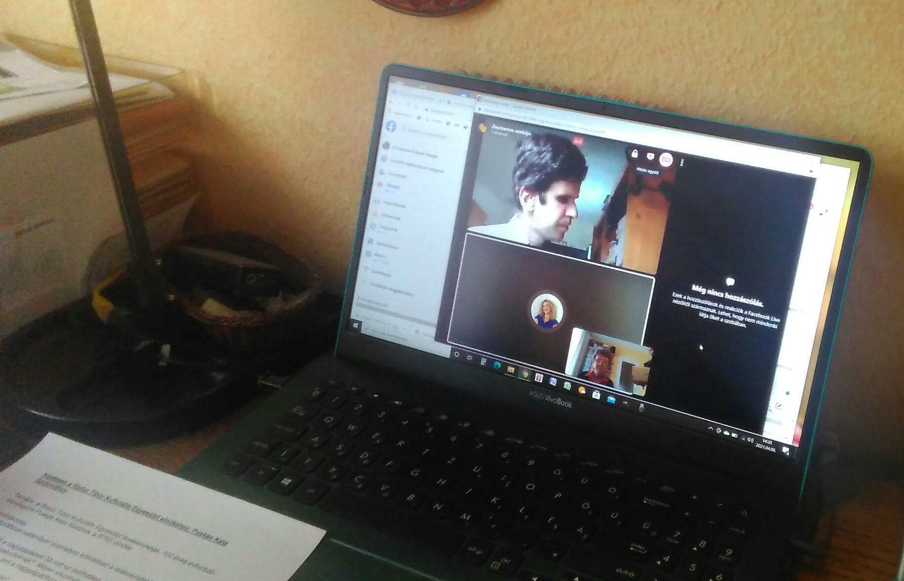 Az online klubnap képernyőfotója