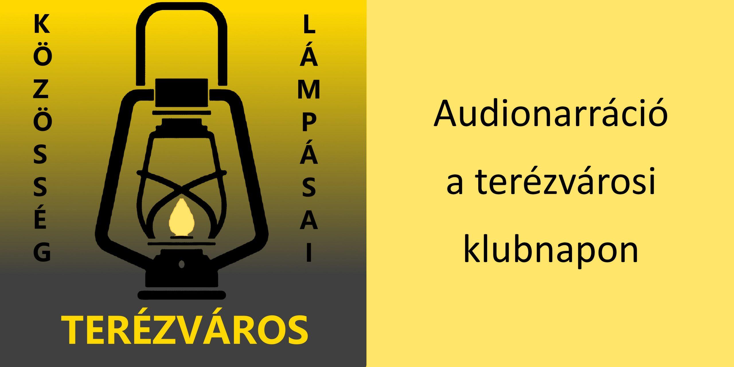 A fotó jobb oldalán sárga alapon fekete betűkkel a hír címe olvasható, a bal oldalon a terézvárosi Lámpás Klub logója látszik.